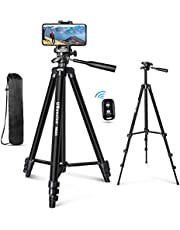 """UBeesize 60"""" Phone Tripod with Carry Bag & Cell Phone Mount Holder for Live Streaming, Extendable Travel Lightweight Tripod Stand with Smartphone Wireless Remote, Compatible with iOS/Android"""