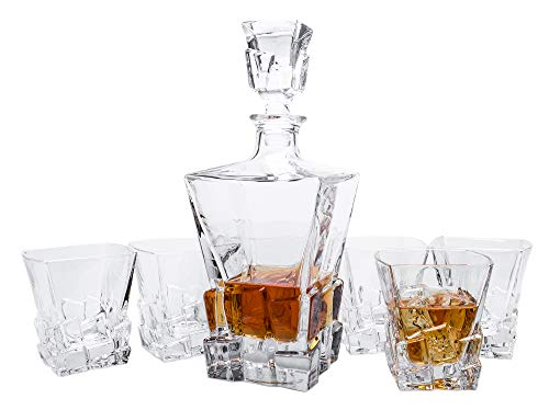 Finest Whiskey Decanter Set with Six Crystal Glass Tumblers - Glacial Ice Crystal