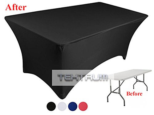 Tektrum 6 ft Long Rectangular Stretch Tablecloth, Spandex Jacket Cover, Tight Fit Linen-Fitted Table Cover For Trade Show, DJ, Wedding, Party, Banquet, Event, Kiosk, Vendor - Premium Fabric (Trade Show Table Covers)