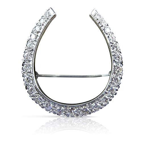Milano Jewelers Large 1.67CT Diamond Platinum 3D Pave Lucky Horseshoe PIN Brooch #21886 ()