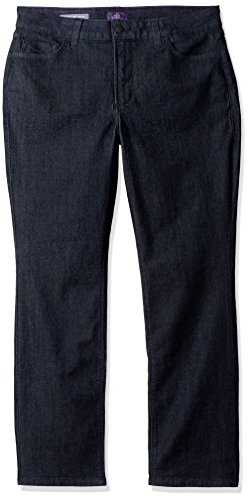 NYDJ Women's Petite Plus Size Hayley Straight Jeans with Short Inseam, Dark Enzyme, 20WP