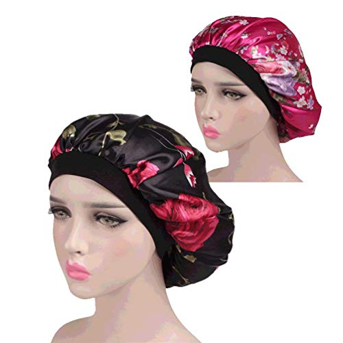Bonnet Sleeping Cap Night Hat - 2 Packs Floral Women Wide Band Salon Soft Satin Patient Chemo Sleep Slouch Slouchy For Summer silk hair scarf for Long Curly Natural