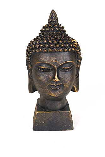 Spiceberry Home Black Buddha Head Statue, Cast Resin