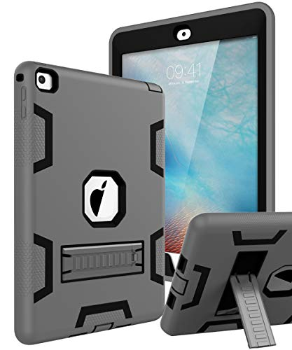 TOPSKY iPad Pro 9.7 Case, iPad A1673 /A1674 /A1675 Case, Heavy Duty Rugged Kids Proof Shockproof Silicone + Plastic Full Body Hybrid Sturdy Protective Cover Case for iPad Pro 9.7 Grey Black