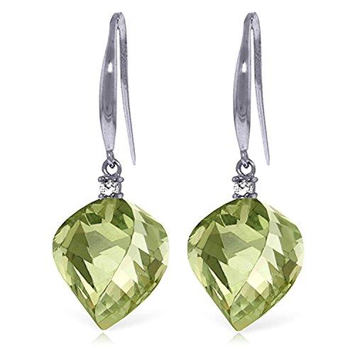 ALARRI 26.1 CTW 14K Solid White Gold Found My Love Green Amethyst Diamond Earrings by ALARRI (Image #2)'