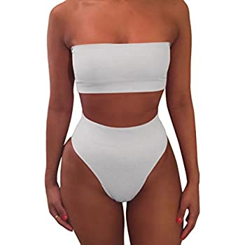 7ba716d85df33 Viottiset Women's Strapless No Pad High Waist 2PCS Swimsuit Bathing Suit  White XL