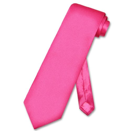 BRAND NEW Mens Necktie Solid Fuchsia Pink Satin Neck TIE
