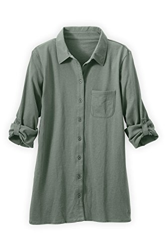 Fair Indigo Fair Trade Organic Relaxed Knit Button Down Shirt (L, Stone Green)