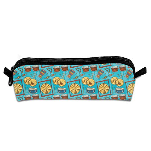 MOOTIL Percussion Musical Instruments Blue Printing Portable Pen Holder Stationery Pencil Pouch Cosmetic Bags
