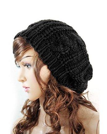 SunHouse New Winter fashion Women Beret Braided Baggy Beanie Crochet Knitted Hat Cap (Black) (Crochet Beret New)