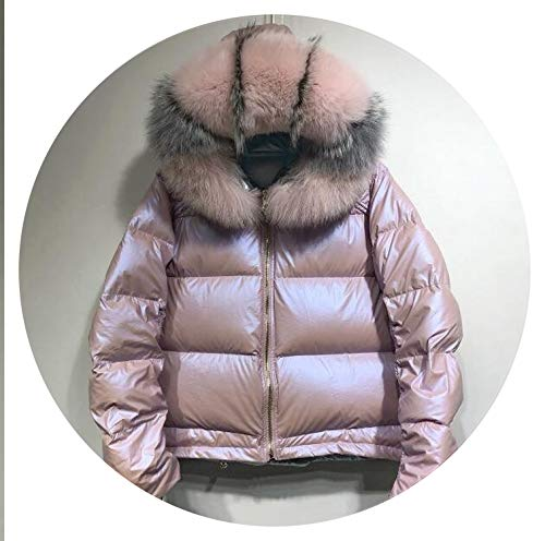 Fox Fur Collar Winter Jacket Women Down Slim Warm Goose Feather Coat White Duck Waterproof,Pink ()