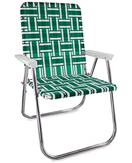 Delicieux Lawn Chair USA Aluminum Webbed Chair (Deluxe, Green And White With White  Arms)