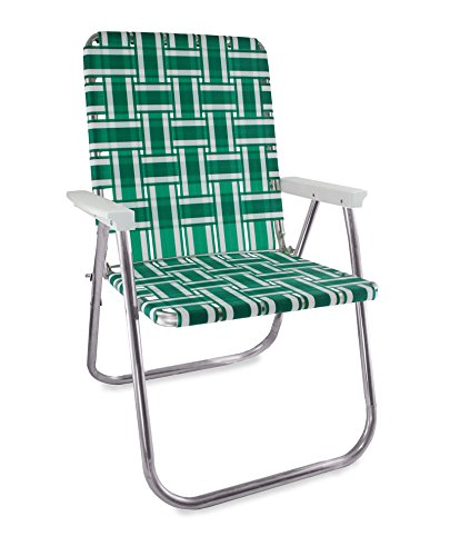 Chairs Green Outdoor Folding - Lawn Chair USA Aluminum Webbed Chair (Deluxe, Green and White with White Arms)