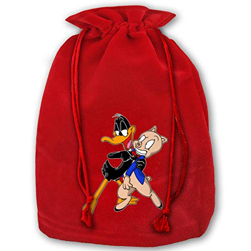 SUZETTE MUNOz Santa Gift Bags Porky Pig X'Mas Red Gift Bags for Kids Presents Xmas for Personalization