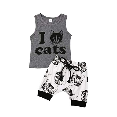 2Pcs Newborn Infant Baby Boy Girl Letter Print Sleeveless Tank Tops Cat Print Shorts Set (6-12 Months, Grey)