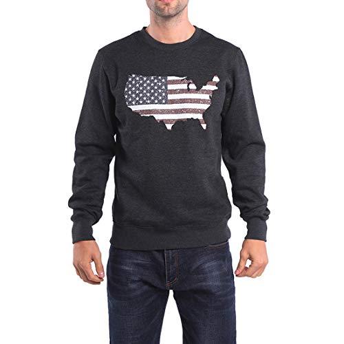 Bulouin Men's Sweatshirts 3D Printed Pullover Long Sleeve Tops America Land of The Free Flag Logo(Dark Grey, ()