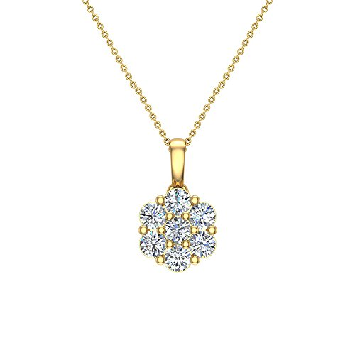 "14K Gold Necklace Diamond Cluster Flower Style with 18"" Chain"