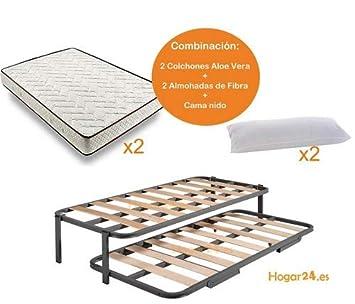 HOGAR24 ES Cama Nido Estructura Reforzada Doble Barra Superior (4 Patas) + 2 Flexitex + 2 Almohadas de Fibra, 90x190 cm: Amazon.es: Juguetes y juegos