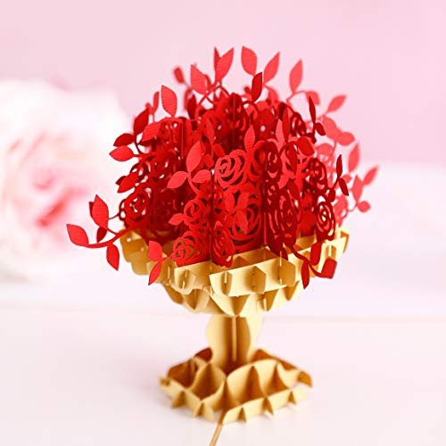 Liif Red Roses 3D Greeting Valentines Love Pop Up Card For ALL Occasions, Anniversary Card, Happy Birthday Card, Mothers Day Card, Wedding Card, Romance, Engagement, Anniversary Gifts For Her, Wife