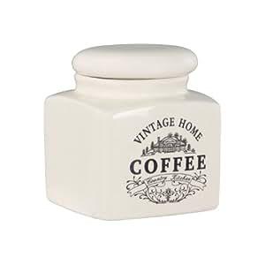 Premier Housewares - Tarro para café, diseño vintage, color blanco