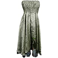 Mogul Interior Womens Sundress Hippie Recycled Printed Recycled Sari Perfect Swing 2 In 1 Strapless Dress Skirts