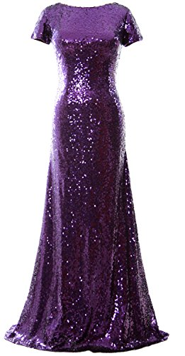 MACloth Violett Sequin Long Cap Sleeve Evening Formal Bridesmaid Dress Mermaid Gown vtrwv