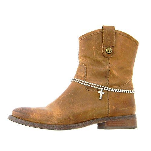 Boot Jewelry Crystal Rhinestone Cross Double Row Design ()