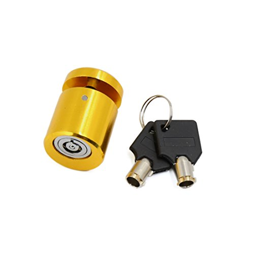 uxcell Gold Tone Motorcycle Scooter Brake Wheel Anti Thief Security Disk Lock w 2 Keys (2 Wheel Drive Motorcycle)