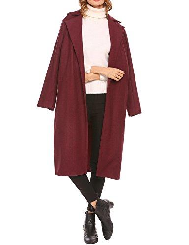 Soteer Women's Open Front Full Length Wool Winter Coat Plus, Wine Red, (Full Length Winter Coats)