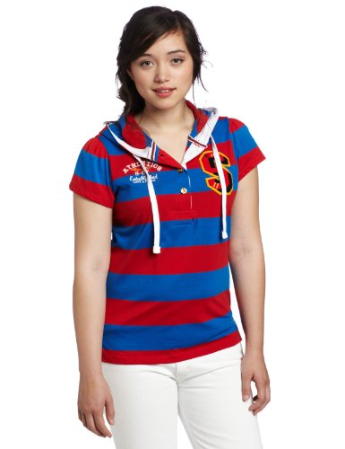Southpole Juniors Plus-Size Rugby Stripe Hooded Top, Red,...
