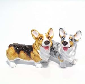 Pembroke Welsh Corgi Dog Ceramic Figurine Salt Pepper Shaker 00037 Ceramic Handmade Dog Lover Gift Collectible Home Decor Art and Crafts