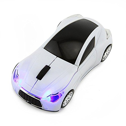 CHUYI Wireless Sport Car Shaped Mouse 1600DPI 3 Button Optical Mouse Ergonomic Mice with USB Receiver for PC Computer Laptop Gift (White)