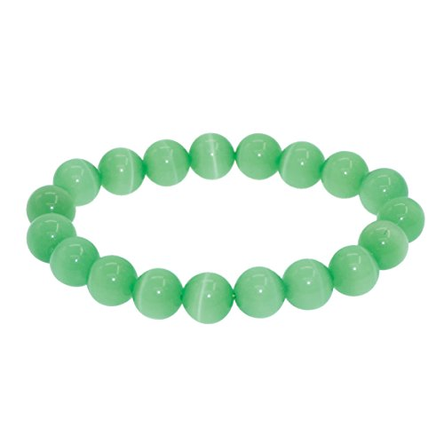 7th Element Round Cat's Eye Bead Beaded Balance Bracelet Stretch Handmade Bangle (10mm 7inch (Cat Eye Green Bracelet)