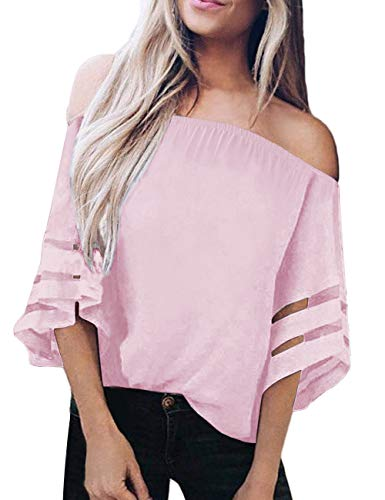 TECREW Women's Off Shoulder 3/4 Bell Sleeve Chiffon Blouse Tops Casual Mesh Panel T Shirts