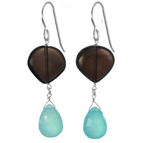 Carribean Seas Blue Aqua Chalcedony Briolette and Smoky Quartz Natural Gemstone Handmade Earrings