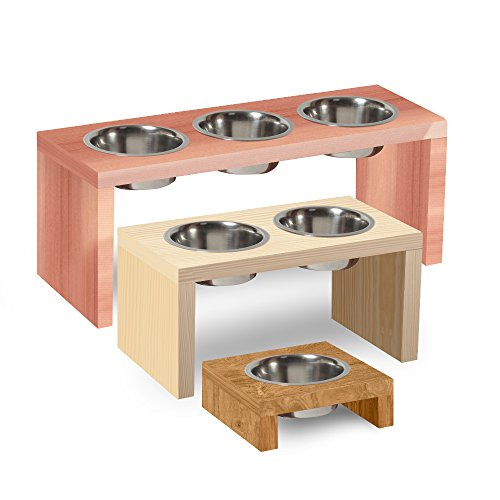 TFKitchen Cedar Wood Elevated Dog and Cat Pet Feeder, Single Bowl Raised Stand (1/2 Pint Each) - 4
