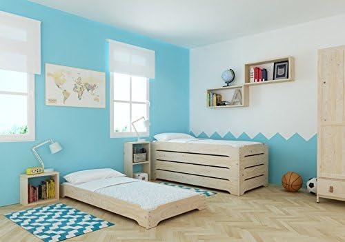 Lufe Cama apilable Madera + colchón, Pino, Natural, 90 x 200 ...