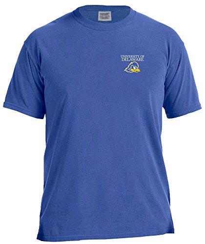 NCAA Delaware Fightin' Blue Hens Simple Circle Comfort Color Short Sleeve T-Shirt, Neon Blue,Large (Delaware Football)