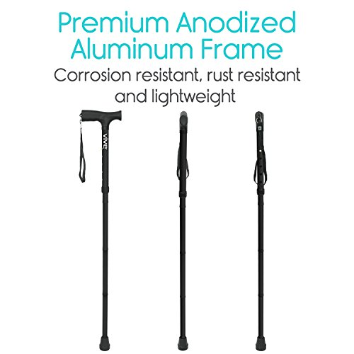Vive Folding Cane - Foldable Walking Cane for Men, Women - Fold-up, Collapsible, Lightweight, Adjustable, Portable Hand Walking Stick - Balancing Mobility Aid - Sleek, Comfortable T Handles (Black) by VIVE (Image #3)