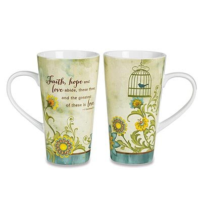 "Abbey Press ""Faith Hope Love"" (1 Corinthians 13:13) Java Mug – Kitchen Décor Inspirational Religious Gifts 55762T-ABBEY"