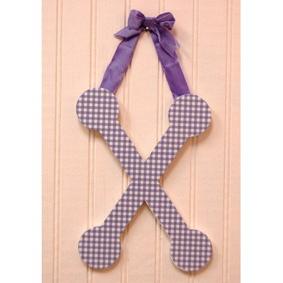 Gingham Letters Check Hanging Initials Color: Lavender, Letter: X