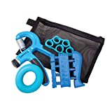 Hand Grip Strength and Forearm Trainer 4-Pack Bundle: Resistance Grip Strengthener, Finger Trainer, Finger Exerciser Stretcher, Grip Ring   Ideal for Athletes, Therapy for Arthritis, Carpal Tunnel