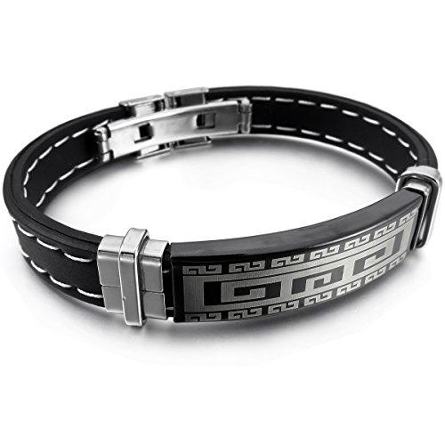 MunkiMix Acier Inoxydable Caoutchouc Bracelet Bracelet Menotte Ton d'Argent Noir Grecque Homme