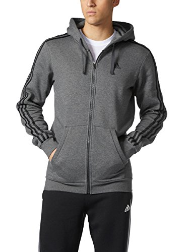 Adidas Men's Essential Cotton 3 Stripe Full-Zip Hoodie - Big & Tall, Dark Grey/Heather Black, ()
