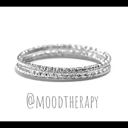 Set of 2 Glitter-Diamond Cut Stackable/Stacking Ring 925 Sterling Silver Sizes 2-13