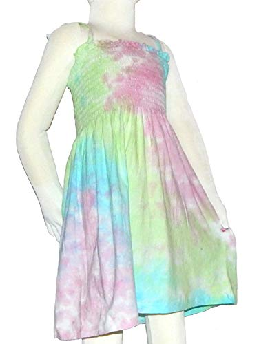 Pastel Tie Dye Dress for Girls (Medium, Smocking - Pastel Kiwi)