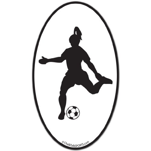 ChalkTalkSPORTS Girl's Soccer Car Magnet | Soccer Player Female Silhouette ()