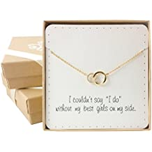 "Bridesmaid Gifts- Delicate Infinity Interlocking Circles Necklace (16"", 24K Gold Plated, Cubiz Zirconia)"