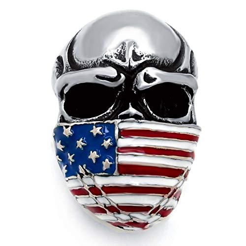 Elfasio Men's Stainless Steel Band Ring American Flag Mask Skull Biker (US Size 15) ()