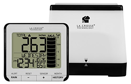 Electronic Rain Gauge - La Crosse Technology 724-2310-INT Wireless Digital Rain Station with Temperature
